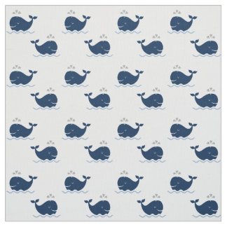 Nautical Whales Pattern | Navy Blue and Gray Fabric