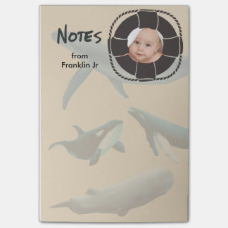 Nautical Whales with Lifesaver Photo Post-it Notes