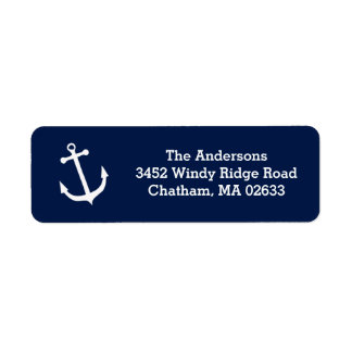 Nautical White Anchor Beach House Simple Classic Return Address Label