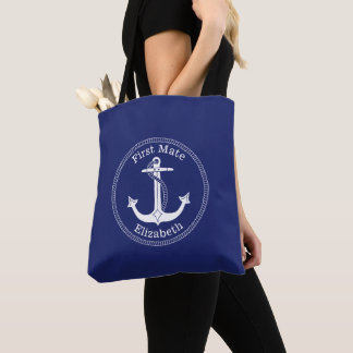 Nautical White Anchor First Mate Personalized Tote Bag