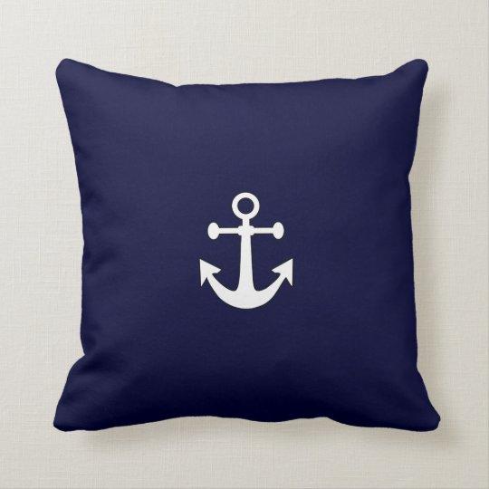 Nautical White Anchor on Navy Throw Pillow