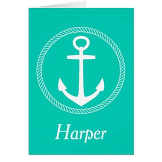 Nautical White Anchor With Rope on Island Sea Card