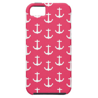 Nautical White Anchors against Fuchsia Pink iPhone 5 Cover