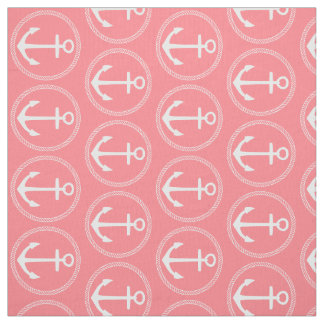Nautical White Anchors and Rope on Coral Pink Fabric