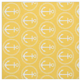Nautical White Anchors and Rope on Sunset Yellow Fabric