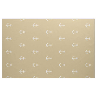 Nautical White Anchors on Classic Khaki Fabric
