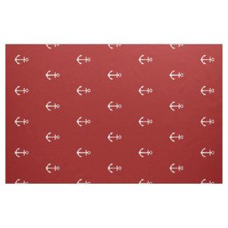 Nautical White Anchors on Nautical Red Fabric