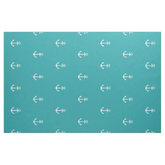 Nautical White Anchors on Pure Turquoise Fabric