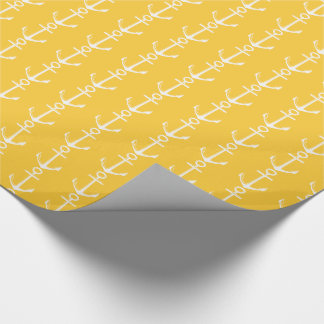 Nautical White Anchors on Warm Sunset Yellow Wrapping Paper