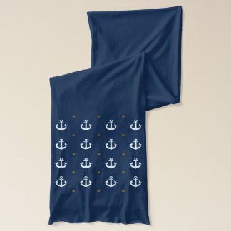 nautical white anchors pattern scarf
