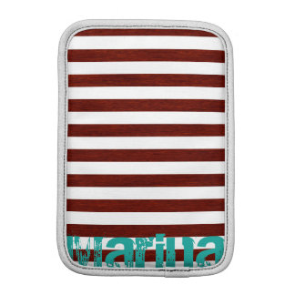 nautical white and wooden stripes with grunge name iPad mini sleeves