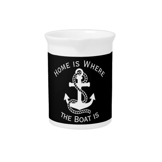 Nautical White Black Anchor {pick your colour} Pitcher