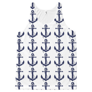 Nautical White & Blue Anchor All-Over Print Singlet