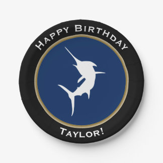 Nautical White Marlin Happy Birthday with Name 7 Inch Paper Plate