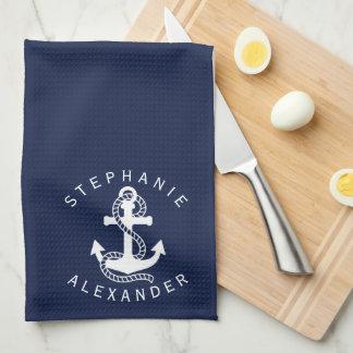 Nautical White Navy Blue Anchor {pick your color} Tea Towel