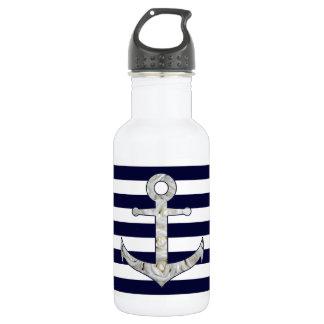 Nautical white rose anchor 532 ml water bottle