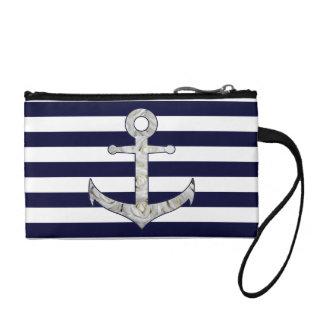 Nautical white rose anchor coin purse