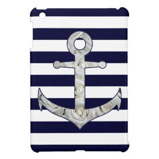 Nautical white rose anchor cover for the iPad mini