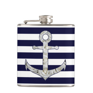 Nautical white rose anchor hip flask