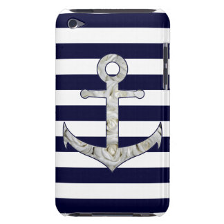 Nautical white rose anchor iPod touch cases