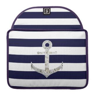 Nautical white rose anchor MacBook pro sleeves