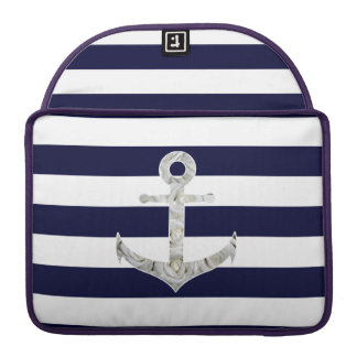 Nautical white rose anchor sleeve for MacBooks