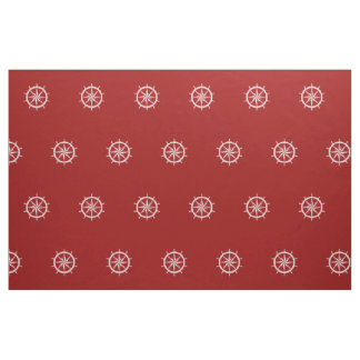 Nautical White Ship Wheels on Red Fabric
