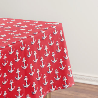 Nautical White w/ Blue Rope Accent Anchors On Red Tablecloth