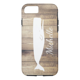 Nautical White Whale Wood Planks & Name in Script iPhone 8/7 Case
