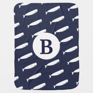 Nautical White Whales & Navy Blue Baby's Initial Baby Blanket