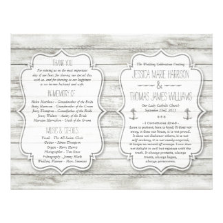 Nautical Whitewashed Wood Beach Wedding Collection 21.5 Cm X 28 Cm Flyer