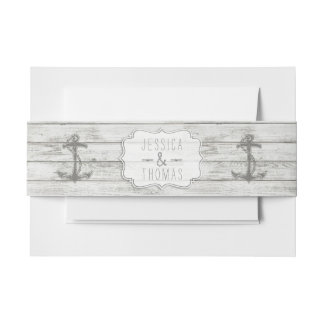Nautical Whitewashed Wood Beach Wedding Collection Invitation Belly Band