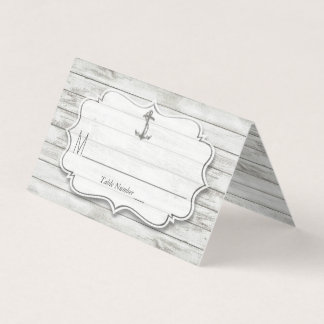 Nautical Whitewashed Wood Beach Wedding Collection Place Card