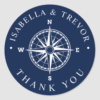 Nautical Wind Rose Compass Thank You Classic Round Sticker