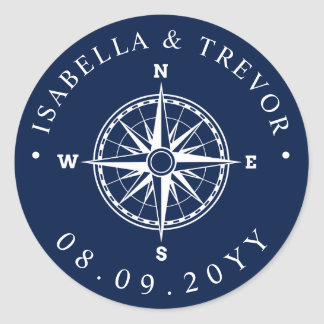Nautical Wind Rose Compass Wedding Date Classic Round Sticker