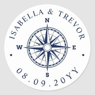 Nautical Wind Rose Compass White | Navy Date Classic Round Sticker