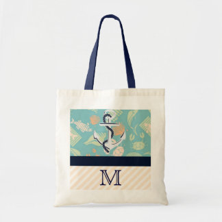 Nautical With Anchor Monogram Beach Bag