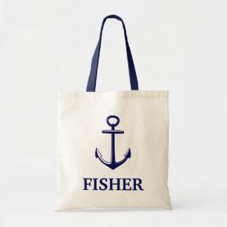 Nautical With Anchor Name Beach Bag