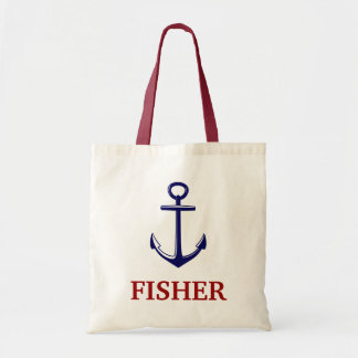 Nautical With Anchor Red Blue Name Beach Bag