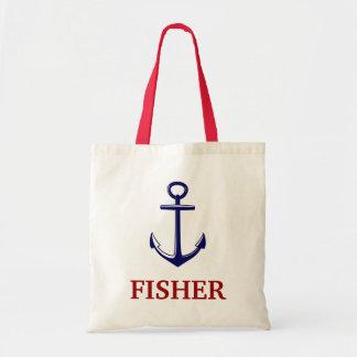 Nautical With Anchor Red Blue Name Beach Bag