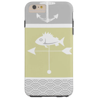 Nautical Yellow and Gray Anchor Fish Weather Vane iPhone 4 Covers
