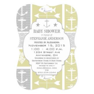 "Nautical Yellow and Gray Anchor Fish Weather Vane 5"" X 7"" Invitation Card"