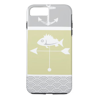 Nautical Yellow and Gray Anchor Fish Weather Vane iPhone 7 Plus Case