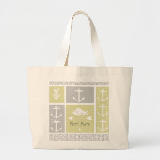 Nautical Yellow and Gray Anchor Fish Weather Vane Large Tote Bag