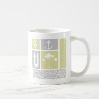 Nautical Yellow and Gray Anchor Fish Weather Vane Coffee Mug