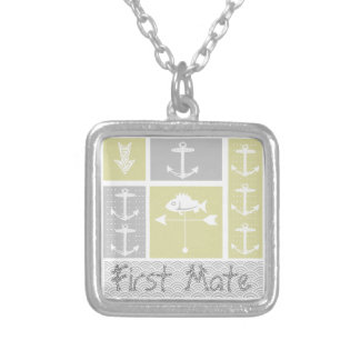 Nautical Yellow and Gray Anchor Fish Weather Vane Square Pendant Necklace