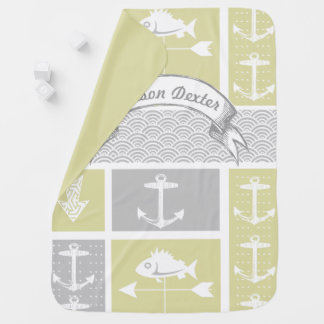 Nautical Yellow and Gray Anchor Fish Weather Vane Pramblankets