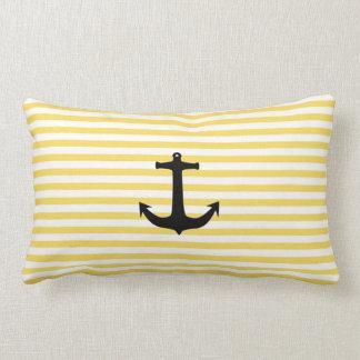 Nautical Yellow Stripe With Anchor Lumbar Cushion