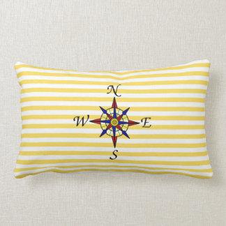 Nautical Yellow Stripe With Compass Lumbar Cushion