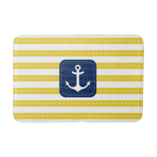 Nautical Yellow Stripes Navy Blue Banner Anchor Bath Mat